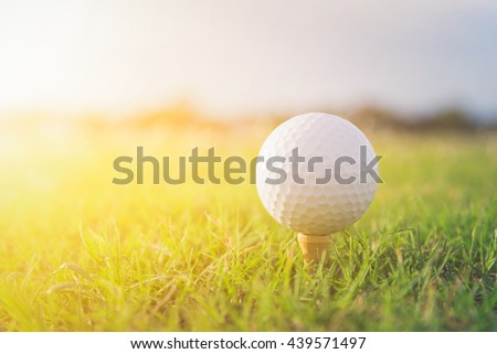 Close up of golf ball on tee. golf ball in field. golf ball on sunset. white golf ball. golf is an outdoor sport. golf ball in thailand. - stock photo