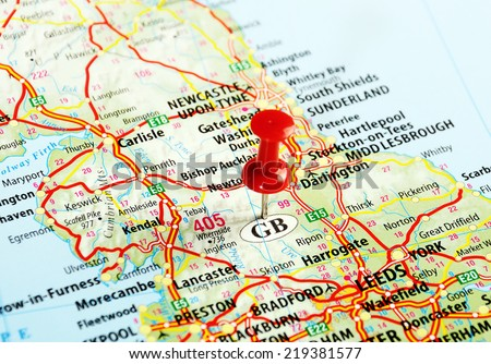 Close up of  Great Britain  map with red pin - Travel concept - stock photo