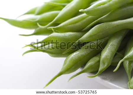 Close up of green beans on white back ground. - stock photo