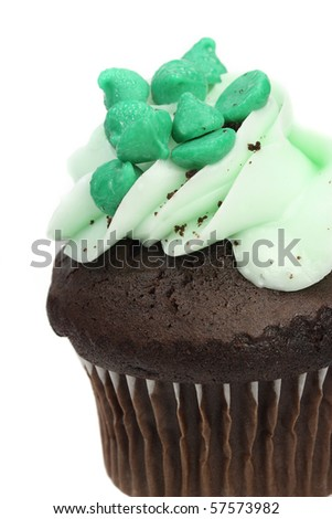 Close up of green cupcake on white background - stock photo