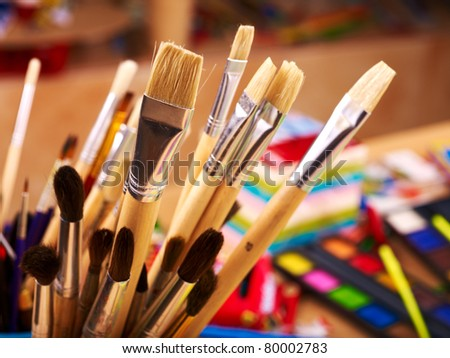 Close up of group art  supplies. - stock photo