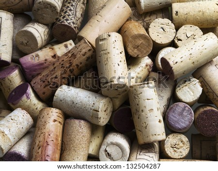 Close-up of group of wine corks - stock photo