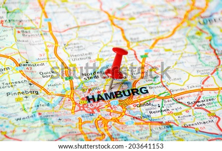 Close up of Hamburg  map with red pin - Travel concept  - stock photo