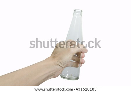 Close-up Of Hand Holding Empty water Bottle On White Background - stock photo