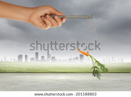 Close up of hand holding stick with carrot dangling on rope - stock photo