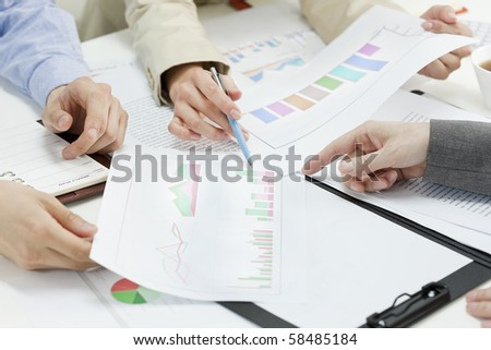 Close-up of hand of business meeting - stock photo
