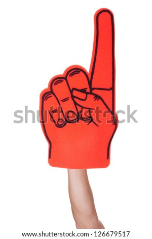Close-up Of Hand Wearing Foam Finger Isolated On White Background - stock photo