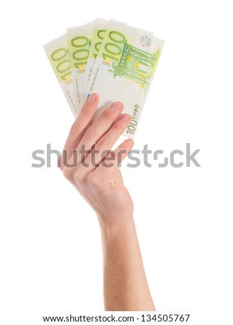 Close-up Of Hands Holding Euro Note On White Backgrounds - stock photo