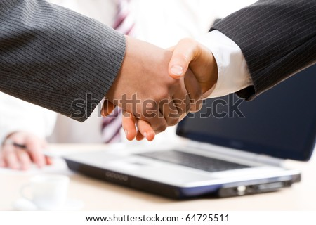 Close-up of hands shake between two successful business people - stock photo