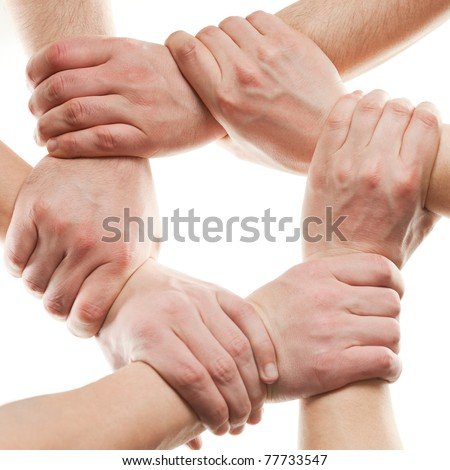 Close up of hands that hold together on white - stock photo