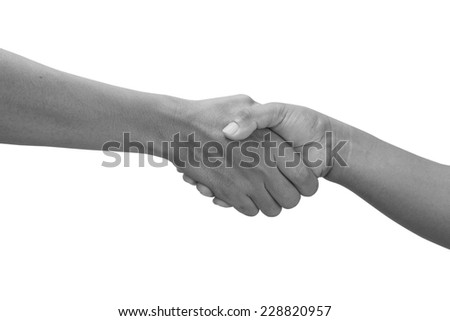 close up of handshake and teamwork isolate on white background  - stock photo