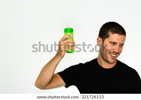 Close-up of happy caucasian man looking down - conceptual image isolated on white background with copyspace - stock photo