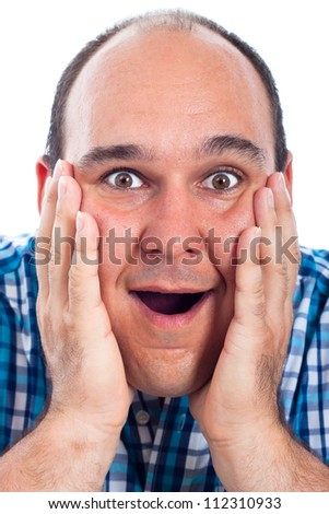 Close up of happy excited man face, isolated on white background. - stock photo