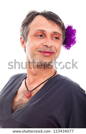 Close up of happy proud transvestite man cross-dressing, isolated on white background. - stock photo