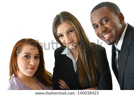 Close up of happy successful business team - stock photo
