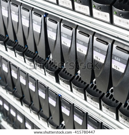 close-up of hard drives in data center - stock photo