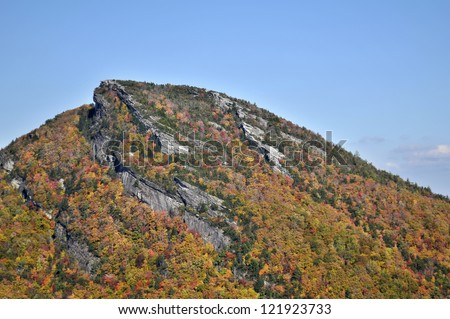 Close Up of Hawk's Bill Mountain in Autumn Linville Gorge North Carolina Horizontal With Copy Space - stock photo