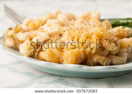 Close up of healthy macaroni and cheese with pureed cauliflower and stir-fried Asian green beans - stock photo