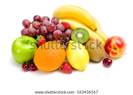Close up of heap of fruit, isolated on white. Concept of healthy eating and dieting lifestyle - stock photo
