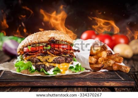 Close-up of home made burger - stock photo