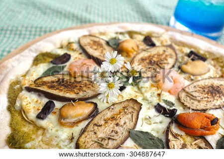 Close up of homemade pizza. - stock photo