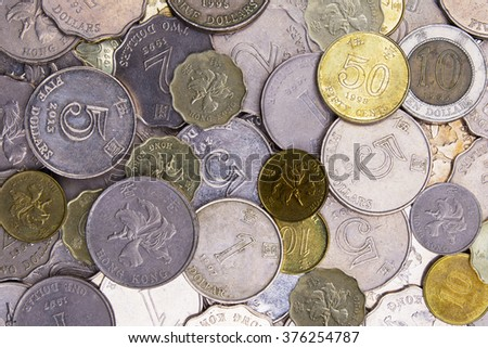 Close up of Hong Kong, China money in coins - stock photo