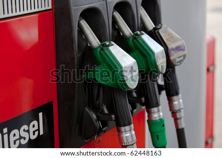 Close-up of hoses in a service station - stock photo