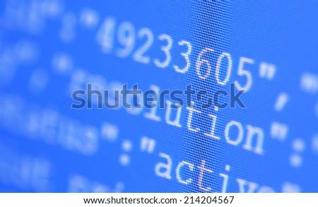 Close up of HTML codes on LED screen - stock photo