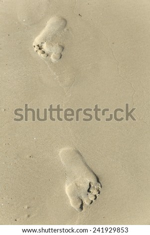 close-up of human footprints in the wet sand at the seaside - stock photo