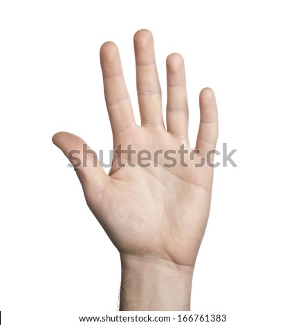 Close-up of human hand on white background - stock photo