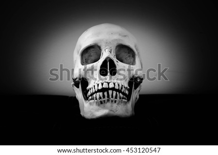 Close up of human skull,Death concept,Halloween,Black and white - stock photo