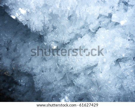Close up of ice chrystals in the wall of icecave, france - stock photo
