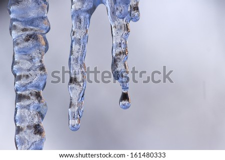 Close up of icicle - stock photo