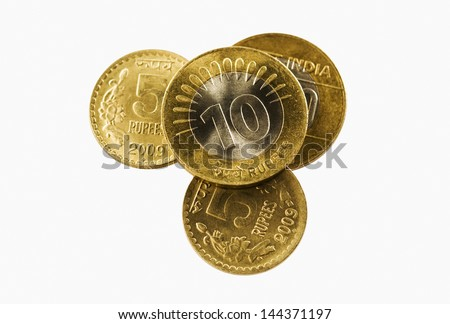 Close-up of Indian coins - stock photo