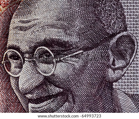 Close up of Indian Rupee- Smiling Gandhi - stock photo