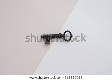 close up of isolated antique key on paper background - stock photo