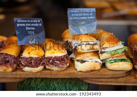 Close up of Italian sandwiches in the shop - stock photo