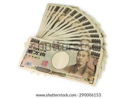 Close up of 10000 Japanese yens on white background - stock photo