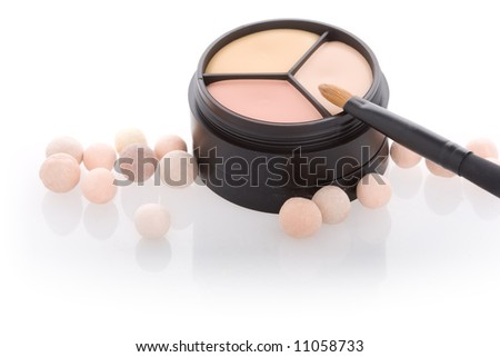 Close-up of jar with face powder on isolated background - stock photo
