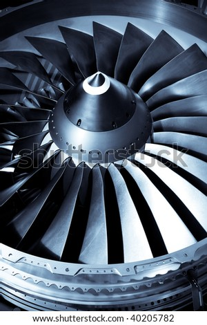 close-up of jet engine turbine blades - stock photo