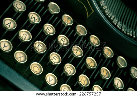 close up of keys of mechanical typewriter - stock photo