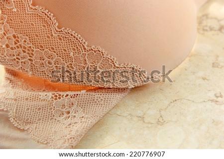 Close-up of lace bra. - stock photo