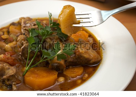 close-up of lamb stew in a white bowl - stock photo
