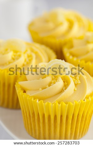 Close up of Lemon cupcakes with butter cream swirl and candid fruit decorations - stock photo