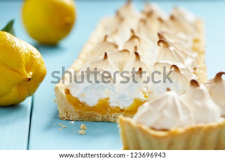 Close up of lemon meringue pie - stock photo