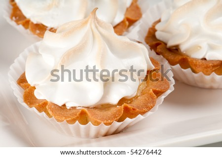 Close up of lemon pie bite ready to serve. - stock photo