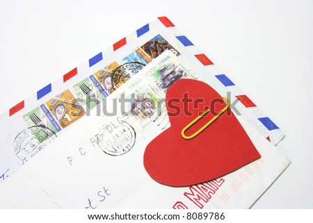 Close Up of Letters with Heart Symbol - stock photo