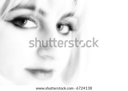 Close up of lips and nose ring. - stock photo
