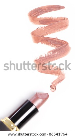 Close up of Lipstick with trace - stock photo