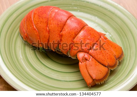 close up of lobster tail - stock photo